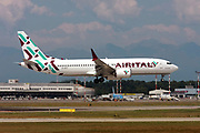 EI-FGY AirItaly Boeing 737 Next Gen passenger jet at takeoff Photographed at Malpensa Airport, Milan, Italy