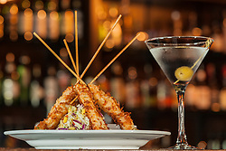 United States, Washington, Kirkland. Martini and hors d'oeuvres at a restaurant.  PR