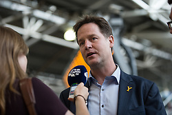 © Licensed to London News Pictures . 03/07/2014 . Leeds , UK . The Deputy Prime Minister , NICK CLEGG MP , meets Tour de France tour makers at Leeds Station today (Thursday 3rd July 2014) . The Liberal Democrat leader and MP for Sheffield Hallam is in Yorkshire meeting volunteer tour makers as part of the start of the Tour de France . Photo credit : Joel Goodman/LNP
