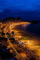 High angle view of   Avenida Atlantica and Copacabana Beach at twilight, Rio de Janeiro, Brazil.