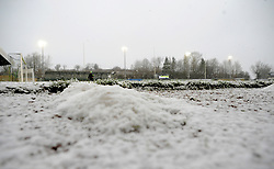 Snow falls inside the innocent New Lawn Stadium prior to kick-off- Mandatory by-line: Nizaam Jones/JMP - 02/01/2021 - FOOTBALL - innocent New Lawn Stadium - Nailsworth, England - Forest Green Rovers v Oldham Athletic - Sky Bet League Two