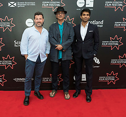 Photo opportunity for the film Halal Daddy directed by Conor McDermottroe<br /> <br /> Pictured: Conor McDermottroe (Director), Art Malik, Nikesh Patel