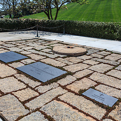 Washington, DC, USA - April 11, 2013: President John Kennedy Grave in Arlington National Cemetery.