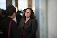 DEU, Deutschland, Germany, Berlin, 07.09.2018: Die Vorsitzende der SPD-Bundestagsfraktion, Andrea Nahles, nach einem Pressestatement nach der Klausurtagung.