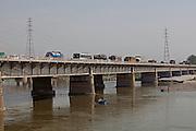 Embankment of the Ganges River at the holy city of Garhmukteshwar, Uttar Pradesh, India