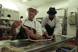Features on Musk sausages, based in Newmarket, Suffolk. Eric Reeve production manager will be demonstrating his sausage stuffing skills at covent garden food fair this weekend, October 30, 2000. Photo by Andrew Parsons / i-Images..
