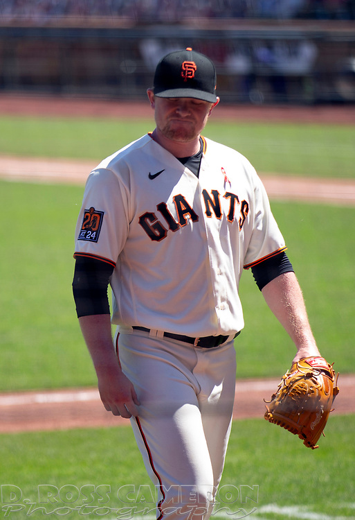 San Francisco Giants starting pitcher Logan Webb (62) reacts to being pulled for a reliever during the fourth inning of a baseball game against the Los Angeles Dodgers on Thursday, Aug. 27, 2020 in San Francisco, Calif. (D. Ross Cameron/SF Chronicle)