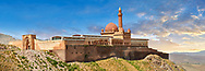 Exterior walls with Minarete of the Mosque of the 18th Century Ottoman architecture of the Ishak Pasha Palace (Turkish: İshak Paşa Sarayı) ,  Agrı province of eastern Turkey. .<br /> <br /> If you prefer to buy from our ALAMY PHOTO LIBRARY  Collection visit : https://www.alamy.com/portfolio/paul-williams-funkystock/ishak-pasha-palace-turkey.html<br /> <br /> Visit our TURKEY PHOTO COLLECTIONS for more photos to download or buy as wall art prints https://funkystock.photoshelter.com/gallery-collection/3f-Pictures-of-Turkey-Turkey-Photos-Images-Fotos/C0000U.hJWkZxAbg