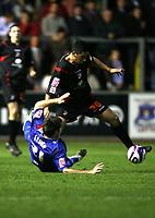 Photo: Paul Greenwood/Sportsbeat Images.<br />Carlisle United v Swindon Town. Coca Cola League 1. 04/12/2007.<br />Swindon's Billy Paynter, (R) beats the challenge of Richard Keogh