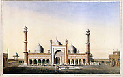 The Jummah Musjed, Delhi, January 1797 The Jami Masjid, the largest mosque in India, was built between 1644 and 1658, as the principal monument of Delhi, the new capital of the Mughal emperor Shah Jahan, established in 1638. The Mosque stands on a high platform on a rock and has three huge gateways approached by broad flights of steps that lead to a big courtyard. The minarets and domed prayer-hall are ornamented in white marble and deep red standstone and the doors are decorated with brass carvings.  From the book ' Oriental scenery: one hundred and fifty views of the architecture, antiquities and landscape scenery of Hindoostan ' by Thomas Daniell, and William Daniell, Published in London by the Authors January 1, 1812