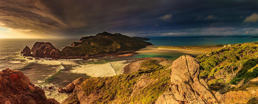Southerly front over Ernest Islands, sunset panorama from above The Gutter, Mason Bay, Rakiura National Park, Stewart Island.