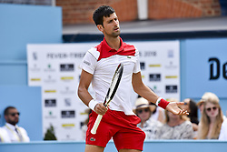 June 23, 2018 - London, England, United Kingdom - Novak Djokovic of Serbia is pictured on court during the semi final singles match on day six of Fever Tree Championships at Queen's Club, London on June 23, 2018. (Credit Image: © Alberto Pezzali/NurPhoto via ZUMA Press)