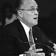 """Rudolph """"Rudy"""" Guiliana, Mayor of New York City, testifying at the 9/11 Commission's 11th Public Hearing in New York City."""