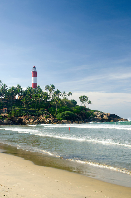 Kovalam beach with the lighthouse in the background, Kerala, India