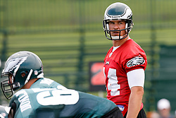 Bethlehem, PA - August 2nd 2008 - Quarterback AJ Feeley has a look of concern on his face before a play during the Philadelphia Eagles Training Camp at Lehigh University (Photo by Brian Garfinkel)