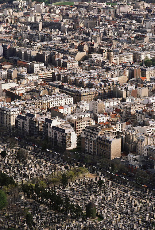 Aerial of Montparnasse Cemetery and adjacent apartment buildings in Paris, France.