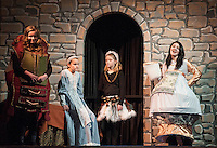"""Madame de Grande Bouche (Ceci Zarella), Belle (Julie Auld), Babette (Jacqueline Nash) and Mrs. Potts (Kaelin Cegelski) during Gilford Middle School's dress rehearsal for """"Beauty and the Beast"""" Tuesday afternoon.  (Karen Bobotas/for the Laconia Daily Sun)"""