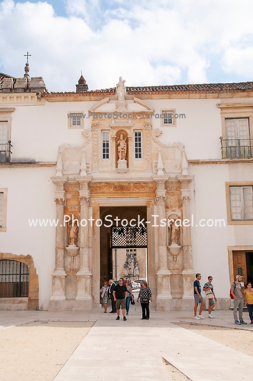 17th century Porta Ferrea or 'iron gate' which leads to the courtyard of Coimbra's Old University, Coimbra, Portugal