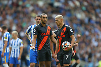 Football - 2021 / 2022 Premier League - Brighton & Hove Albion vs Everton - Amex Stadium - Saturday 28th August 2021<br /> <br /> Richarlison of Everton holds the ball before being told by captain Seamus Coleman of Everton to hand responsibility to Dominic Calvert-Lewin of Everton during the Premier League match at The Amex Stadium Brighton  <br /> <br /> COLORSPORT/Shaun Boggust