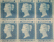 """Unused block of Six """""""" postage stamps of Queen Victoria issued May 8, 1840 After a design by William Wyon"""