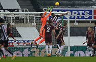 Leeds United goalkeeper Illan Meslier (1)  during the Premier League match between Newcastle United and Leeds United at St. James's Park, Newcastle, England on 26 January 2021.
