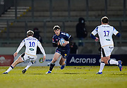 Sale Sharks AJ McGinty spots a gap during a Gallagher Premiership Round 9 Rugby Union match, Friday, Feb 12, 2021, in Leicester, United Kingdom. (Steve Flynn/Image of Sport)