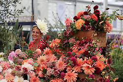 © Licensed to London News Pictures. 20/09/2021. London, UK. A woman wearing a flower hat views a floral display during press day for the RHS Chelsea Flower Show. The RHS Chelsea Flower Show is a garden show held by the Royal Horticultural Society in the grounds of the Royal Hospital Chelsea. It has been held since 1912 and this year the show will be spread over six days instead of five (from 21 to 26 September), with reduced numbers of visitors on each of the days. The annual flower show was postponed in May due to the coronavirus lockdown. Photo credit: Dinendra Haria/LNP