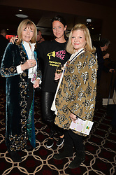 Left to right,  ADRIANNE COOK, INDIA LANGTON and JO MILLER mother of Sienna Miller at the Pig Pledge Evening at Club no41, 41 Conduit Street, London on 10th March 2014.