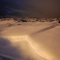 Snow on Walshaw Moor, Yorkshire  at Sunset on a winters day.