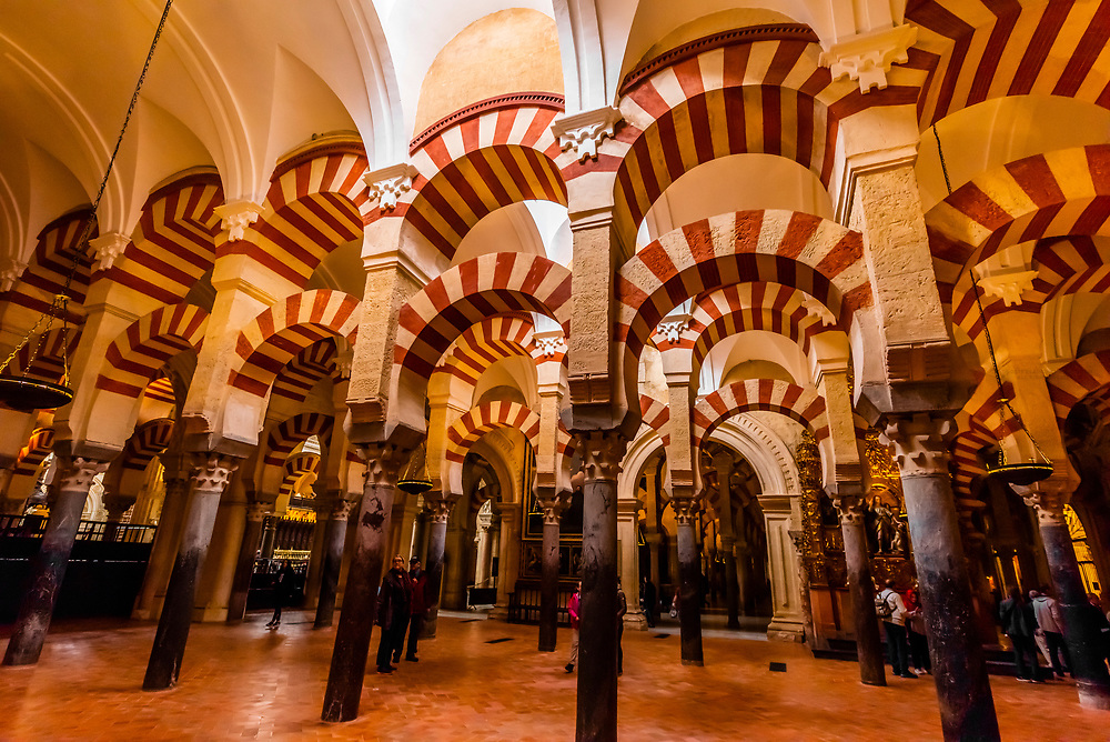 Archway inside the Mezquita (the Mosque-Cathedral) of Corboba, Cordoba Province,  Spain.