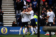 Preston North End's Joe Garner (c) celebrates with his teammates after scoring his teams 1st goal. Skybet football league one play off semi final, 1st leg match, Preston North End v Rotherham United at the Deepdale Stadium in Preston, England on Saturday 10th May 2014.pic by Chris Stading, Andrew Orchard sports