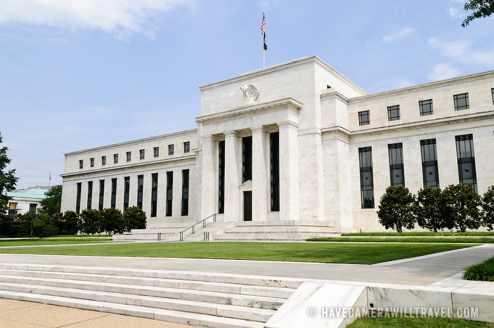 The southern front of the Federal Reserve Building in Washington DC. The Fed, as it often called, is the central banking system of the United States.