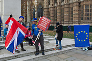 As Prime Minister Theresa May prepares to sell her Brexit deal ahead of five days of debate and eventual vote in parliament, both pro-EU Remainers protest outside the House of Commons, on 4th December 2018, in London, England. This week will be a vital step for Mays Premiership and the UKs Brexit status.