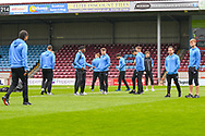 Bradford City players arrive at the ground before the EFL Sky Bet League 1 match between Scunthorpe United and Bradford City at Glanford Park, Scunthorpe, England on 27 April 2019.