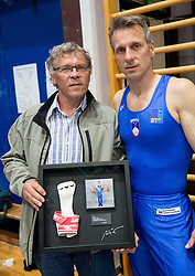 Farewell of Slovenian athlete Aljaz Pegan (at picture with his first coach Boris Pavliha) at his last competition in his sports career during Slovenian Gymastics Cup 2013 on June 2, 2013 in GIB arena, Ljubljana, Slovenia. (Photo By Vid Ponikvar / Sportida)