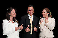 Middle age executive team and secretary with thumbs up very happy.