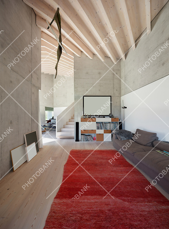 Interior of a villa, modern living room with red carpet. concrete walls