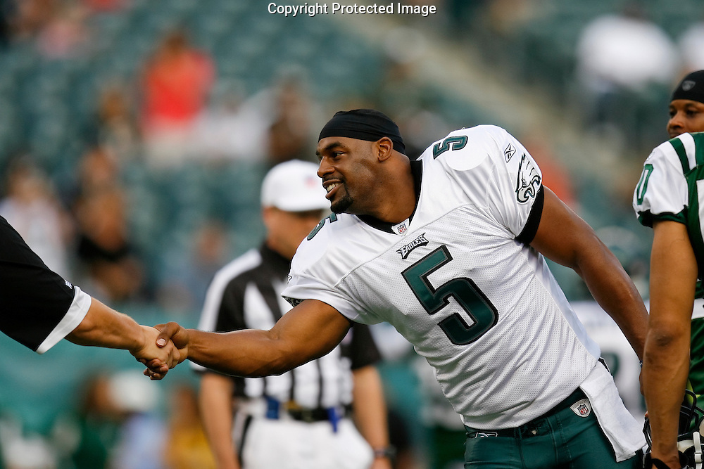 28 August 2008: Philadelphia Eagles quarterback Donovan McNabb #5 shakes a hand before the game against the New York Jets on August 28, 2008. The Jets beat the Eagles 27 to 20 at Lincoln Financial Field in Phialdelphia, Pennsylvania.