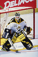 1999: Roller hockey goaltender Rob Laurie in net for the Anaheim Bullfrogs at the Pond. Transparency image scan.