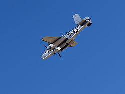 September 13, 2018 - Reno, Nevada, U.S. - RENO, NV - SEPTEMBER 13: B-25 Mitchell bomber from the Commemorative Air Force is part of the many aerial demonstrations at the 55th National Championship Air Races the only closed course pylon racing event in the world, and is the world's longest running air race held in Reno, NV. (Photos by Lyle Setter/Icon Sportswire) (Credit Image: © Lyle Setter/Icon SMI via ZUMA Press)