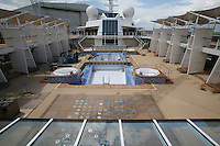 Celebrity Equinox, a brand new cruise ship belonging to Celebrity Cruises, during her river conveyance down the River Ems from the shipyard where she was built to the open sea..Onboard feature photos. (ship unfinished).Pool deck, unfinished.