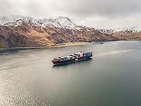 Aerial view of a shipping boat in Unalaska bay, USA