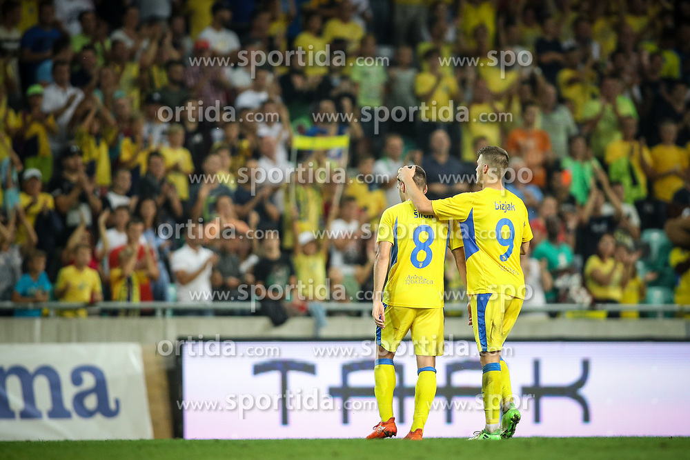Matija Sirok of NK Domzale and Lovro Bizjak of NK Domzale after football match between NK Domzale and Olympique de Marseille in First game of UEFA Europa League playoff round, on August 17, 2017 in SRC Stozice, Ljubljana, Slovenia. Photo by Morgan Kristan / Sportida