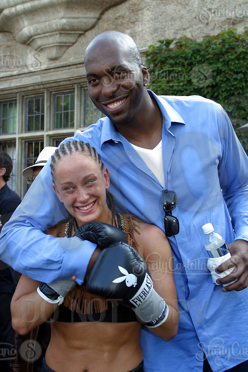 Jul 09, 2002; Los Angeles, CA, USA; JESSICA 'BABYDOLL' RAKOZCY & former NBA basketball star JOHN SALLY @ SUGAR RAY LEONARD BOXING first year anniversary was celebrated with a live fight night on ESPN2 from the Playboy Mansion in Holmby Hills.  Over 350 invited guests attended the cocktail reception and showdown in the back yard of Playboy HUGH HEFNER's 5 1/2 acre estate. <br />Mandatory Credit: Photo by Shelly Castellano/ZUMA Press.<br />(©) Copyright 2002 by Shelly Castellano