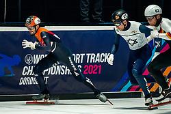Itzhak de Laat of Netherlands in action on 500 meter during ISU World Short Track speed skating Championships on March 05, 2021 in Dordrecht
