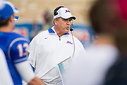 Dec 1, 2012; Tulsa, Ok, USA; Tulsa Hurricanes head coach Bill Blankenship reacts to a play during a game against the University of Central Florida Knights at Skelly Field at H.A. Chapman Stadium. Tulsa defeated UCF 33-27 in overtime to win the CUSA Championship. Mandatory Credit: Beth Hall-USA TODAY Sports