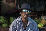 Coconut seller<br /> Georgetown<br /> GUYANA<br /> South America<br /> 31 years selling coconuts