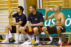 Saso Ozbolt, Uros Slokar and Nebojsa Joksimovic during practice session of Slovenian National Basketball team during training camp for Eurobasket Lithuania 2011, on July 12, 2011, in Arena Vitranc, Kranjska Gora, Slovenia. (Photo by Vid Ponikvar / Sportida)