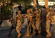 Soliders block protestors near Baabda Presidential Palace on Saturday, 12 Sep 2020 in Beirut, Lebanon. (VXP Pictures/ Matt Kynaston)