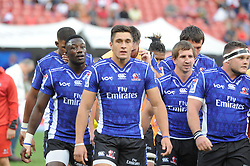 070418 Emirates Airlines Park, Ellis Park, Johannesburg, South Africa. Super Rugby. Lions vs Stormers. Some of the Lions team make their way off the field after a warm up beofr the start of the game.<br />Picture: Karen Sandison/African News Agency (ANA)
